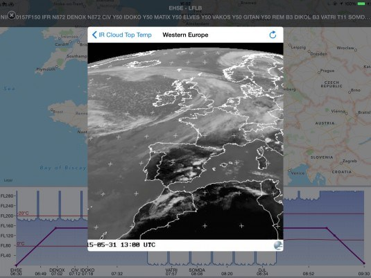 Weather briefing from within the app.